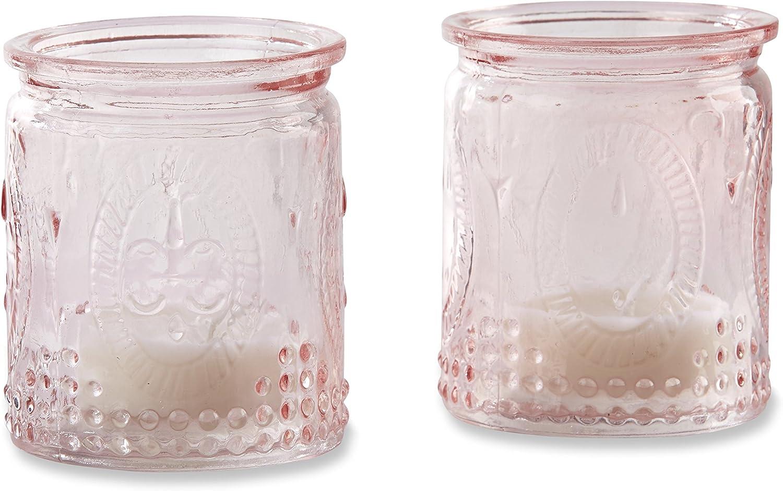 Kate Aspen Vintage Glass Tea Light Holder (Set of 4), Pink