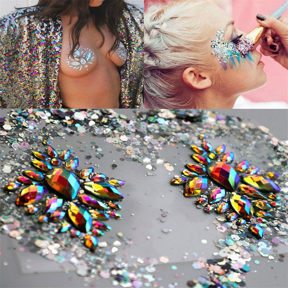1Sheet & 5g Silver Holographic Chunky Glitter Jewels Tattoo Glitter Crystal Tattoos Festival Rhinestone Nail Giltter Temporary Stickers