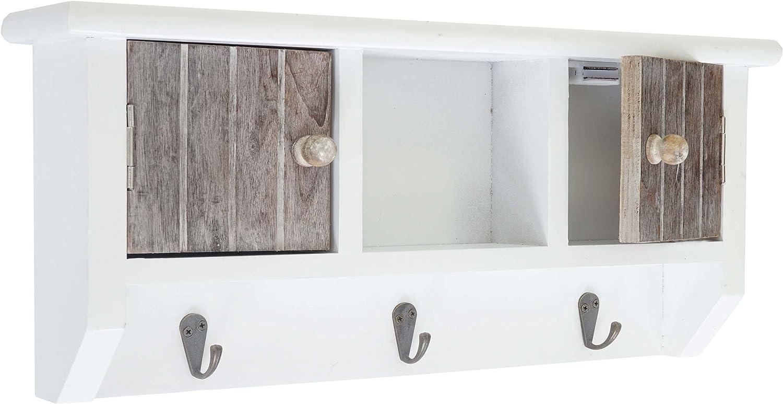 boîte à clés avec portes et crochets ~ blanc Armoire à clés HWC-A48
