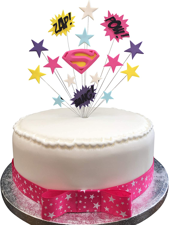 Super Super Girl Superhero Birthday Cake Topper Suitable For A 20Cm Cake Funny Birthday Cards Online Necthendildamsfinfo
