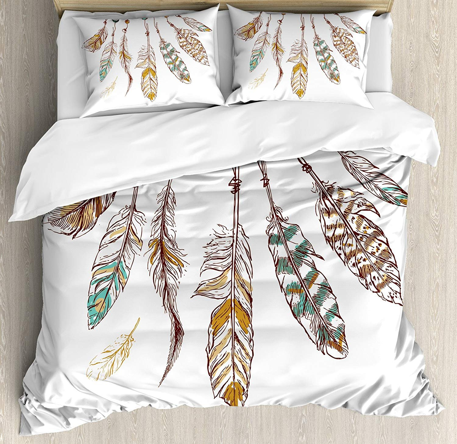 WAZZIT 4 Piece Duvet Cover Set Queen Hippie Authentic Graphic of Eastern Old Hippie Spiritual with Mysticism Icons Image Print Print Bedding Set with Zipper Closure Matching 2 Pillow Shams by WAZZIT