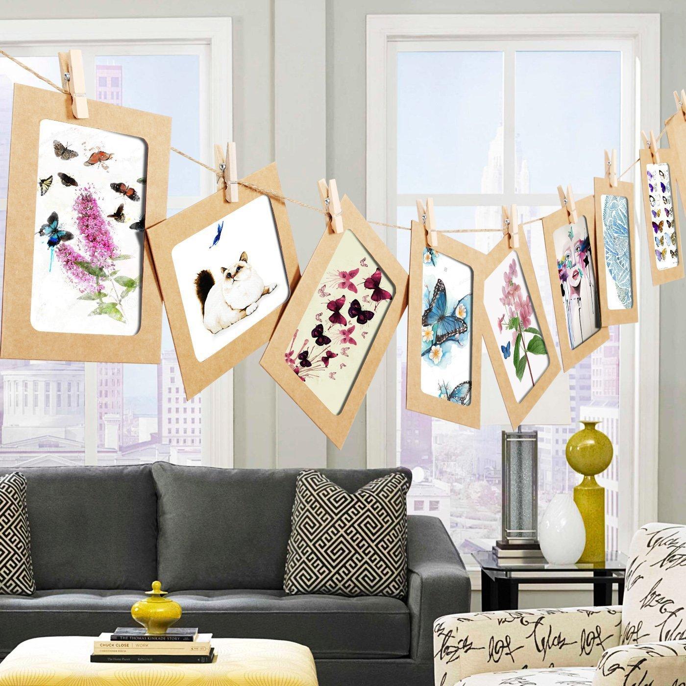 30Pcs DIY Kraft Paper Photo Frame Wall Decor 30pcs Kraft Paper Frame,Fits 5x7,4x6,3x5Photo,Brown,Black,White Insert Paper Picture Holder for Hanging Artworks Prints Christmas Home Decorations