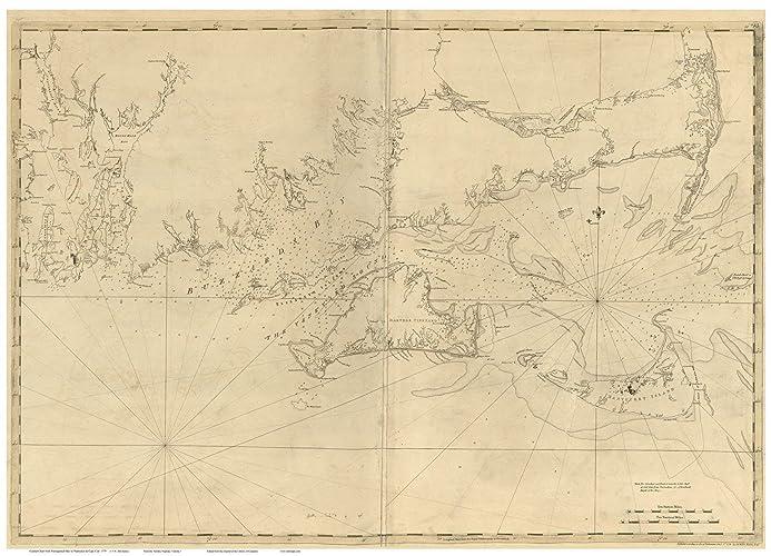 Amazon.com: Newport RI to Buzzards Bay MA 1776 Map - Revolutionary ...