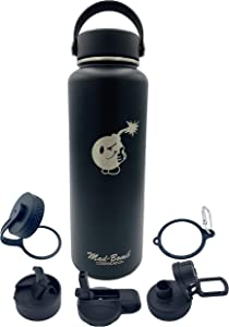 MAD-BOMB Flask 39oz Water Hydro Bottle, Black Stainless Steel, Vacuum Insulated, Laser Engraved (Bundle w/ 5 Interchangeable lids, 2 Straws, 1 Carabiner)