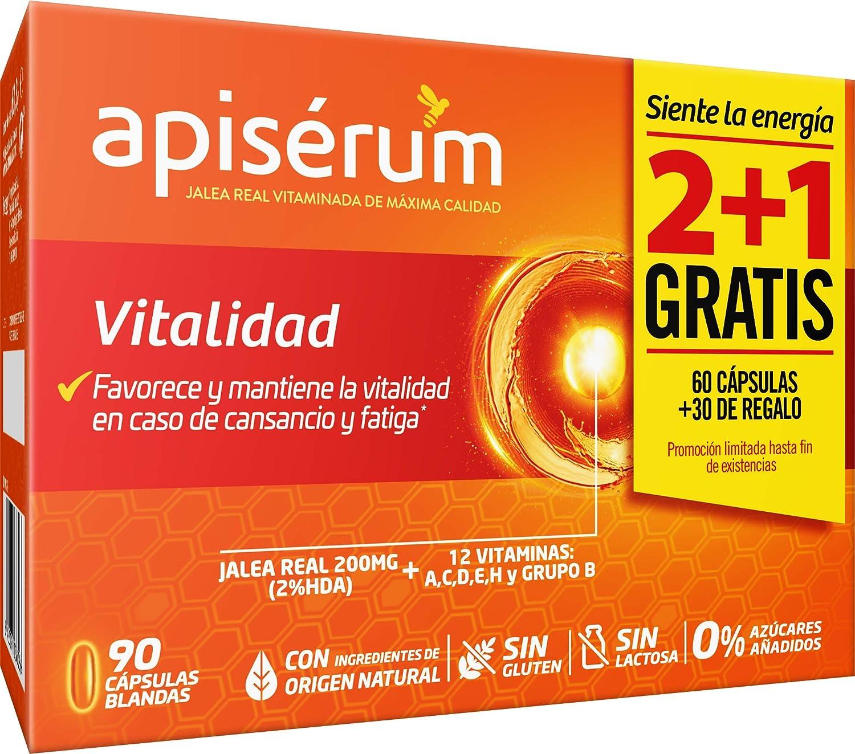 Apisérum Pack Vitalidad Cápsulas - 3 meses de tratamiento - Jalea Real con Vitamina C - Multivitamínico - Vitaminas A,C,D,E,H y grupo B Ayuda a reforzar el sistema inmunitario*
