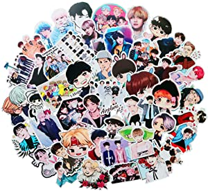 Pop Singer BTS Stickers 50PCS for Laptop and Water Bottles,Waterproof Durable Trendy Vinyl Laptop Decal Stickers Pack for Teens, Water Bottles, Computer, Travel Case