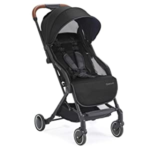 Contours Bitsy Elite Compact Fold Lightweight Stroller for Travel, Airplane Friendly, Adapter Free Car Seat Compatibility, Onyx Black