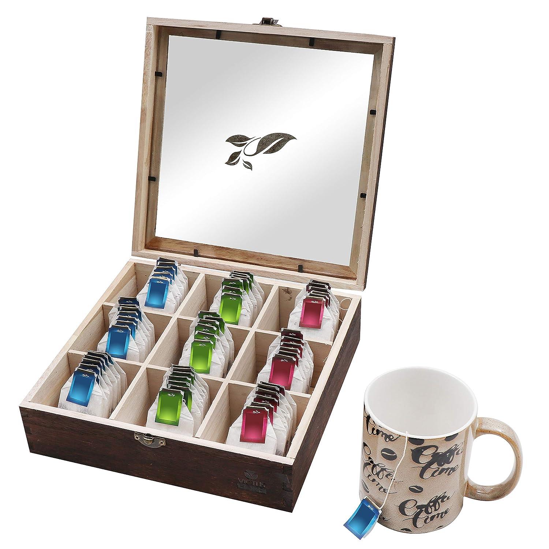 Display Case Wooden Tea Coffee Organizer Storage Box 9-Compartment Box Chest
