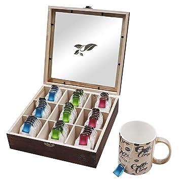 Caja de té (9 Compartimentos) Madera Bambú Caja para té con Ventana de Vidrio