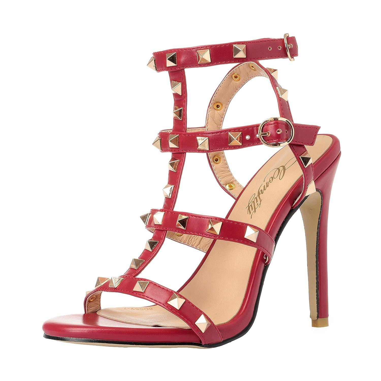 8e14f857cd7 Comfity Rockstud Sandals for Women,Strappy Studded Gladiator Shoes  Slingback Stiletto Heels Wedding Stud Sandal