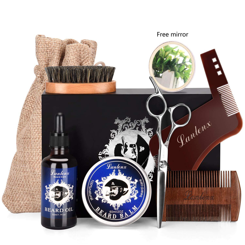 Beard Kit & luxury Beard Grooming Kit For Man 6 Pcs -Unscented Beard Oil Leave-in Conditioner,Beard Balm, Beard Comb,Beard Brush,Beard Scissors,Beard Shaping templat,Beard Growth & Shaping Gift set
