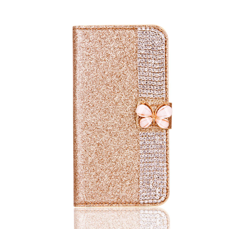 Misteem Coque Galaxy S6 Edge, Cierre Magné tico Mariposa Estrella Diseñ o Diamantes Lujo Brillo Bling Patró n Cartera Cubierta Cuero Tarjeta Cubierta Protectora para Samsung Galaxy S6 Edge [Oro]