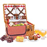 Picnic Basket Set for 4 Person Set Includes Waterproof Picnic Blanket Insulated Red Picnic Hamper Set with Lid | Complete Picnic Table Set | Large Wicker Basket with Handle | Food Storage Baskets
