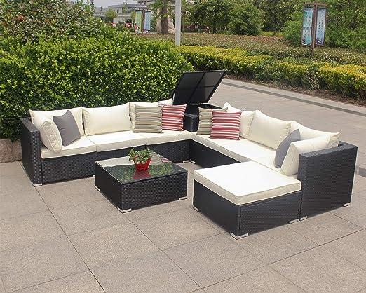 Enjoy Fit - Conjunto de Muebles de jardín de polirratán, Incluye ...