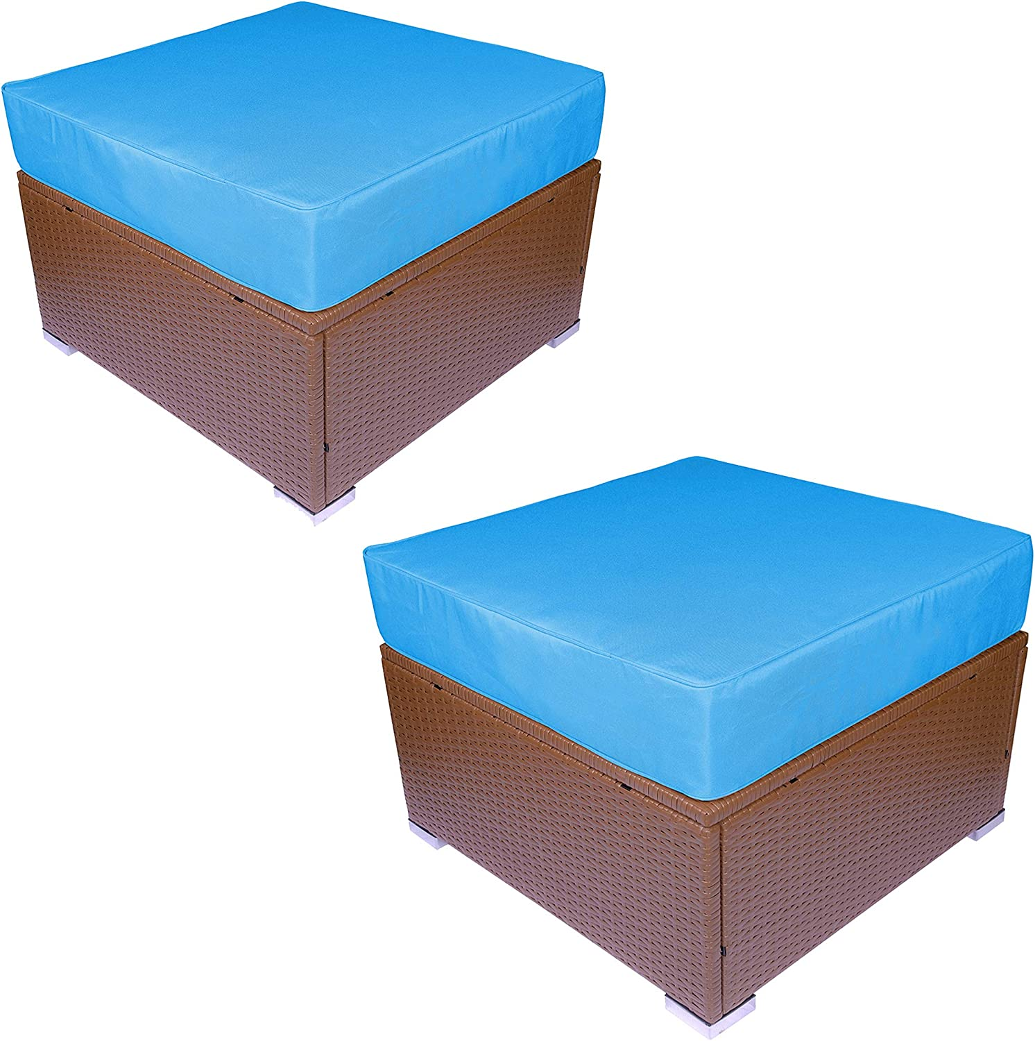 All Weather Rattan Wicker Ottoman Seat Blue Outdoor Footstool Footrest Seat w//Removable Cushions 6081-4006OT-2 Patio Rattan Furniture MCombo 2 Pieces Outdoor Patio Ottoman