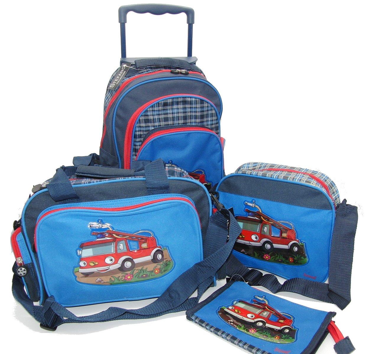 4 tlg. Reiseset: Feuerwehr Trolley + Umhängetasche + Sporttasche + Kosmetiktasche