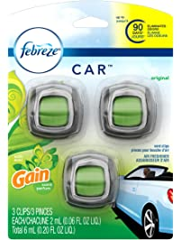 Febreze Car Vent Clip With Gain Original Scent Air Freshener 3 Count - Packaging May Vary