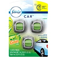 Febreze Car Air Freshener Vent Clips With Gain Original Scent, 3 Count - Packaging May Vary