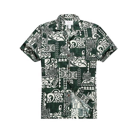 d770f62c5 Made In Hawaii Men's Hawaiian Shirt Aloha Shirt In Classic Patch Turtles In  Green - Green