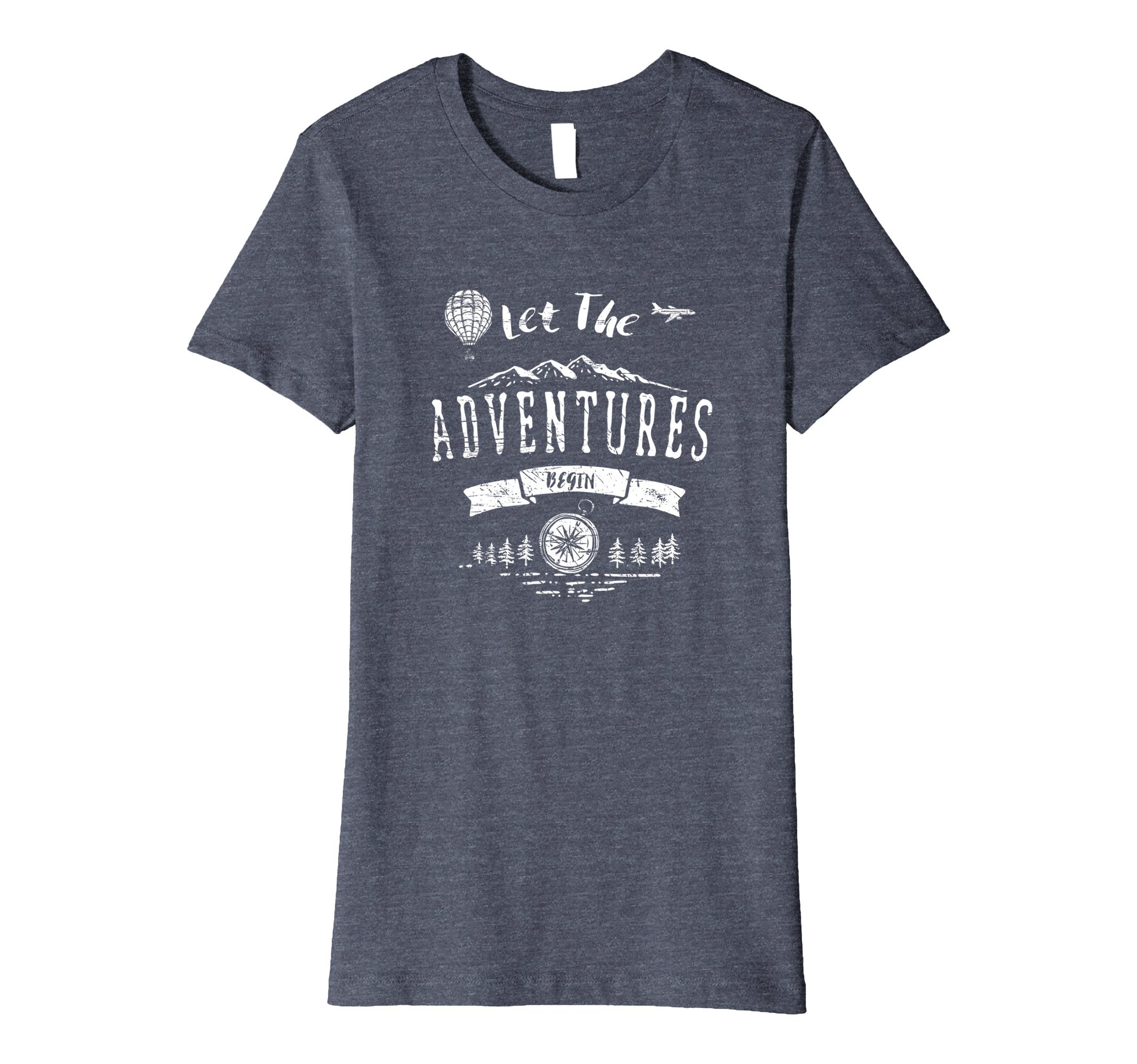 Womens Let The Adventures Begin T-Shirt Travel Explore Apparel Large Heather Blue