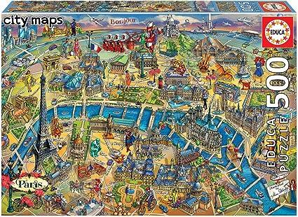 Educa Borras - Serie City Maps, Puzzle 500 piezas Mapa de París ...