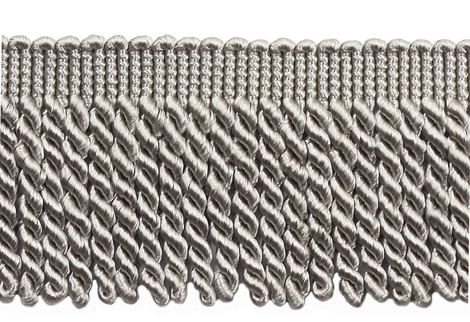 049 Style# BFS3 Color: Silver Grey 3 Long Grey Bullion Fringe Trim DecoPro 7 Yard Pack 21 Ft // 6.4M