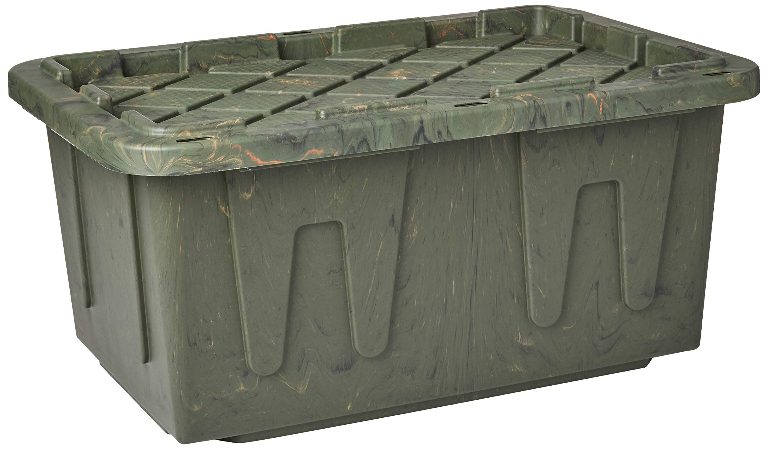 Homz Durabilt Tough Storage Tote Box, 27 Gallon, Camo With Lid, Stackable, 4-Pack by Homz