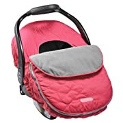 JJ Cole - Car Seat Cover, Weather Resistant Blanket-Style Canopy Designed to Protect from the Cold and Winter Weather, Bright Pink Sassy Wave, Birth and Up