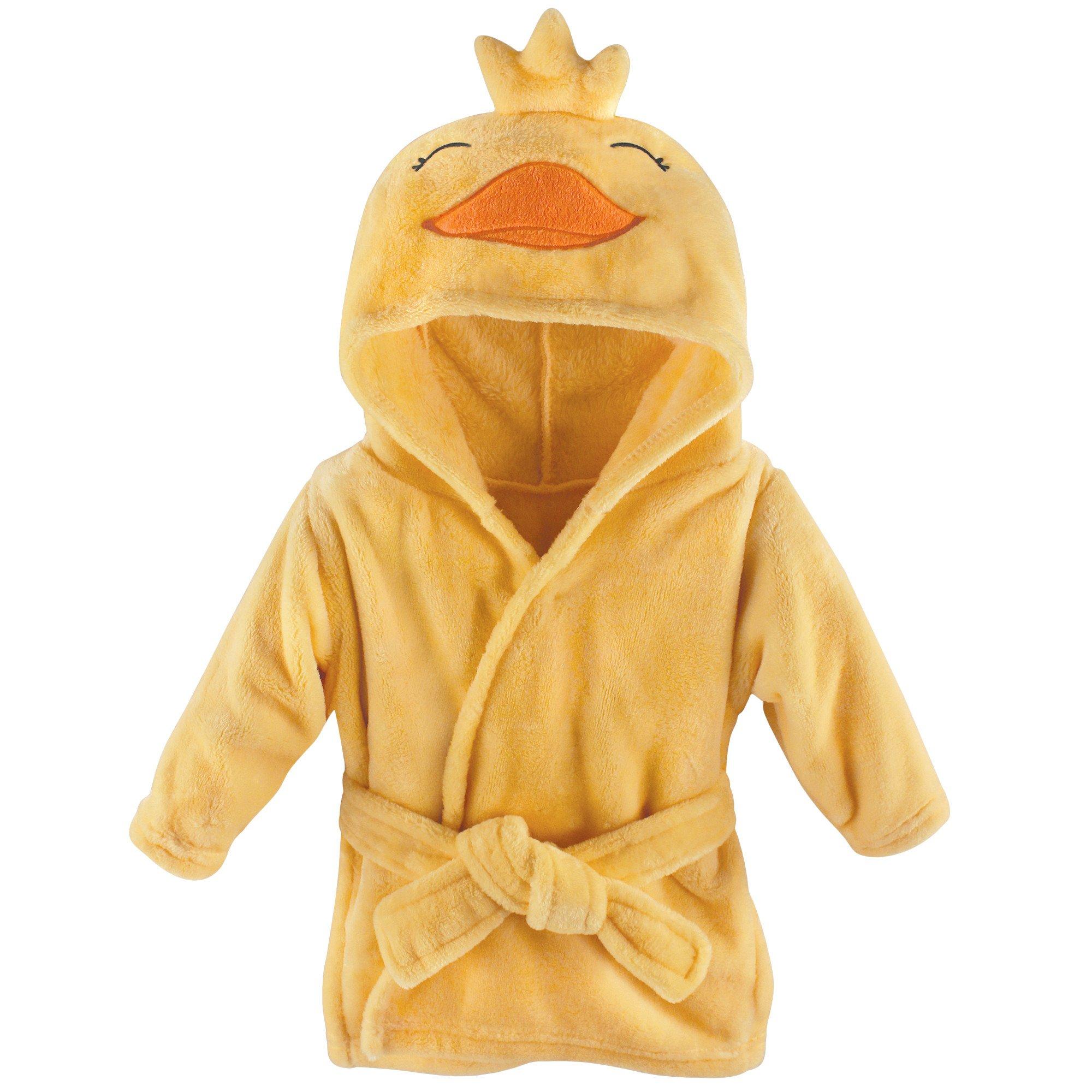 Hudson Baby Soft Plush Baby Bathrobe, Duck, 0-9 Months
