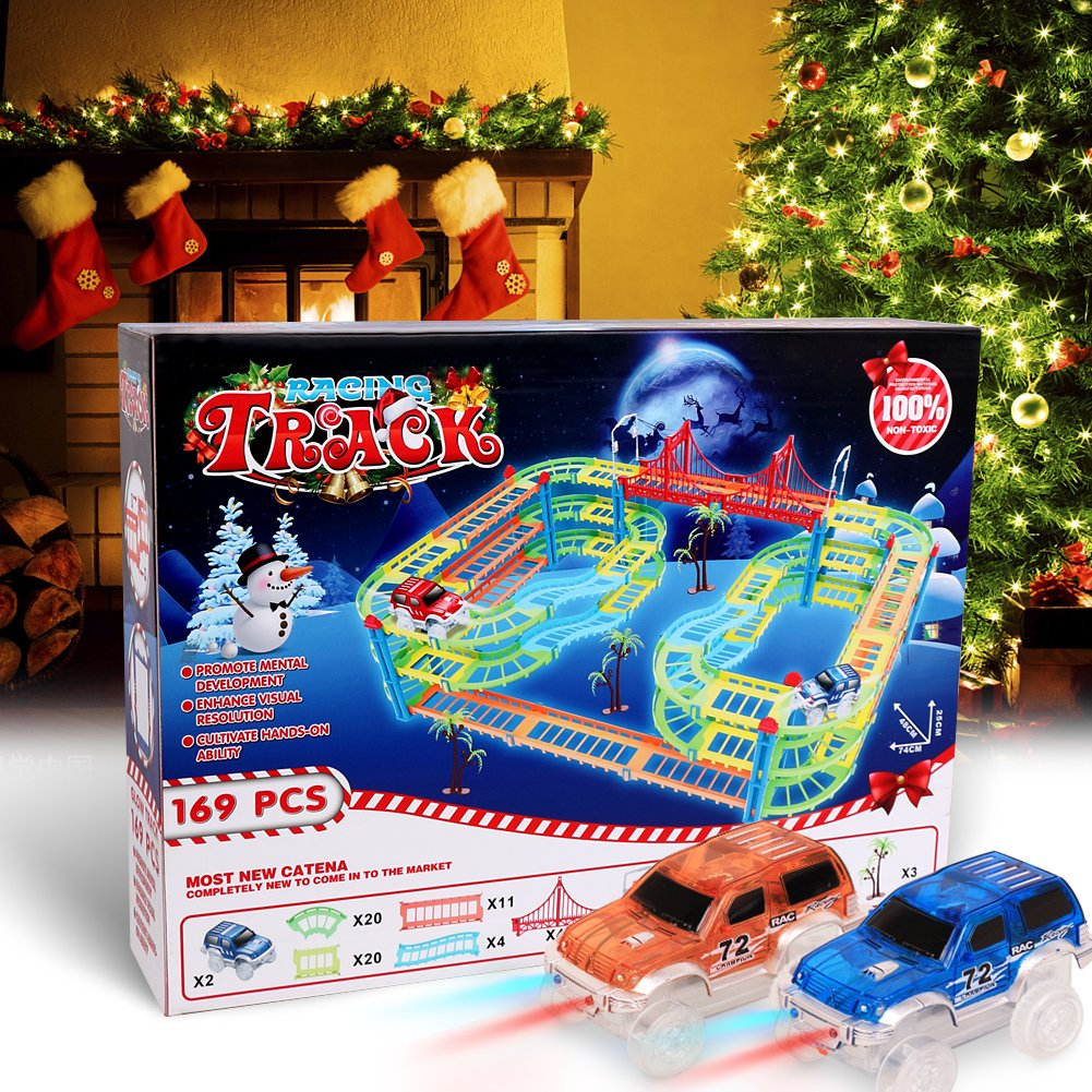 MAGIC GLOW TRACKS Paso a desnivel Twister Neon Glow Serie Circuito Coches