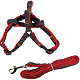 Petroad Dog Leash and No-pull Adjustable Harness -Double Padded, Solid -Easy Step-In and Fit Pet Reflective Dog Harness (Red Medium)