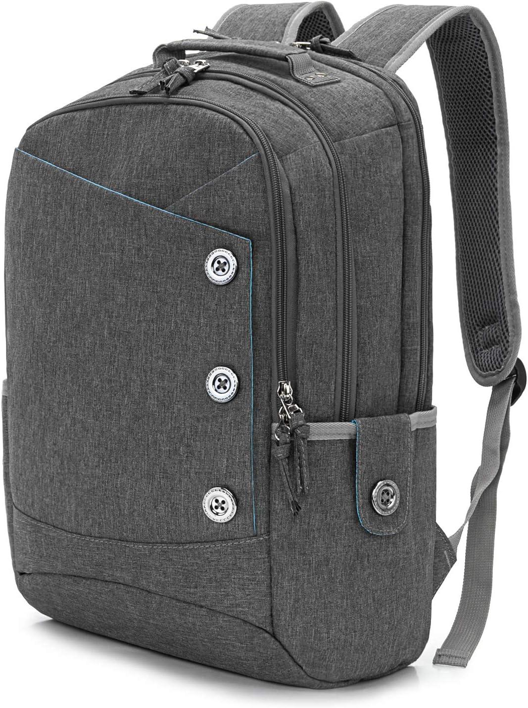KINGSLONG Laptop Backpack Women Men 15.6 for Travel Work Computer Backpack Gray