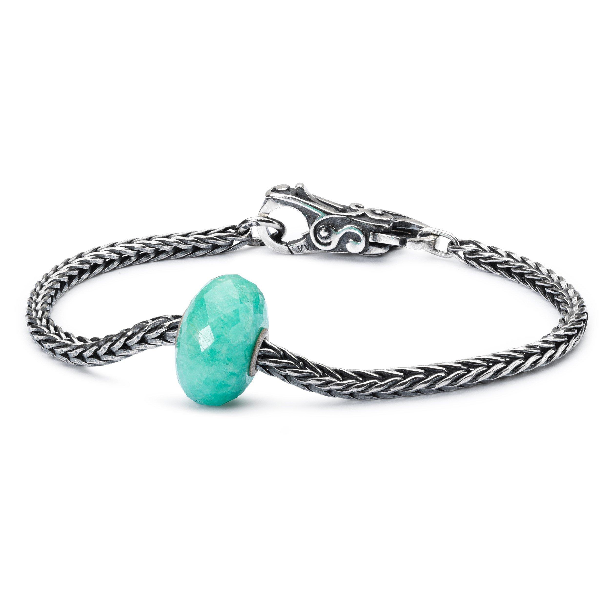 Trollbeads 925 Minty Macaroon Amazonite Bead Sterling Silver Bracelet, 19cm