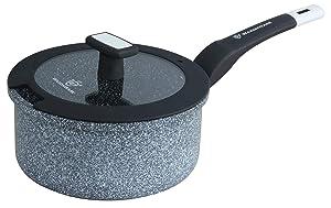 WaxonWare 1.75 Quart Ceramic Nonstick Saucepan With Lid, Non Toxic APEO PFOA PTFE Free Nonstick Pot With Lid, Induction Compatible & Dishwasher Safe Ceramic Saucepan (STONETEC Series)