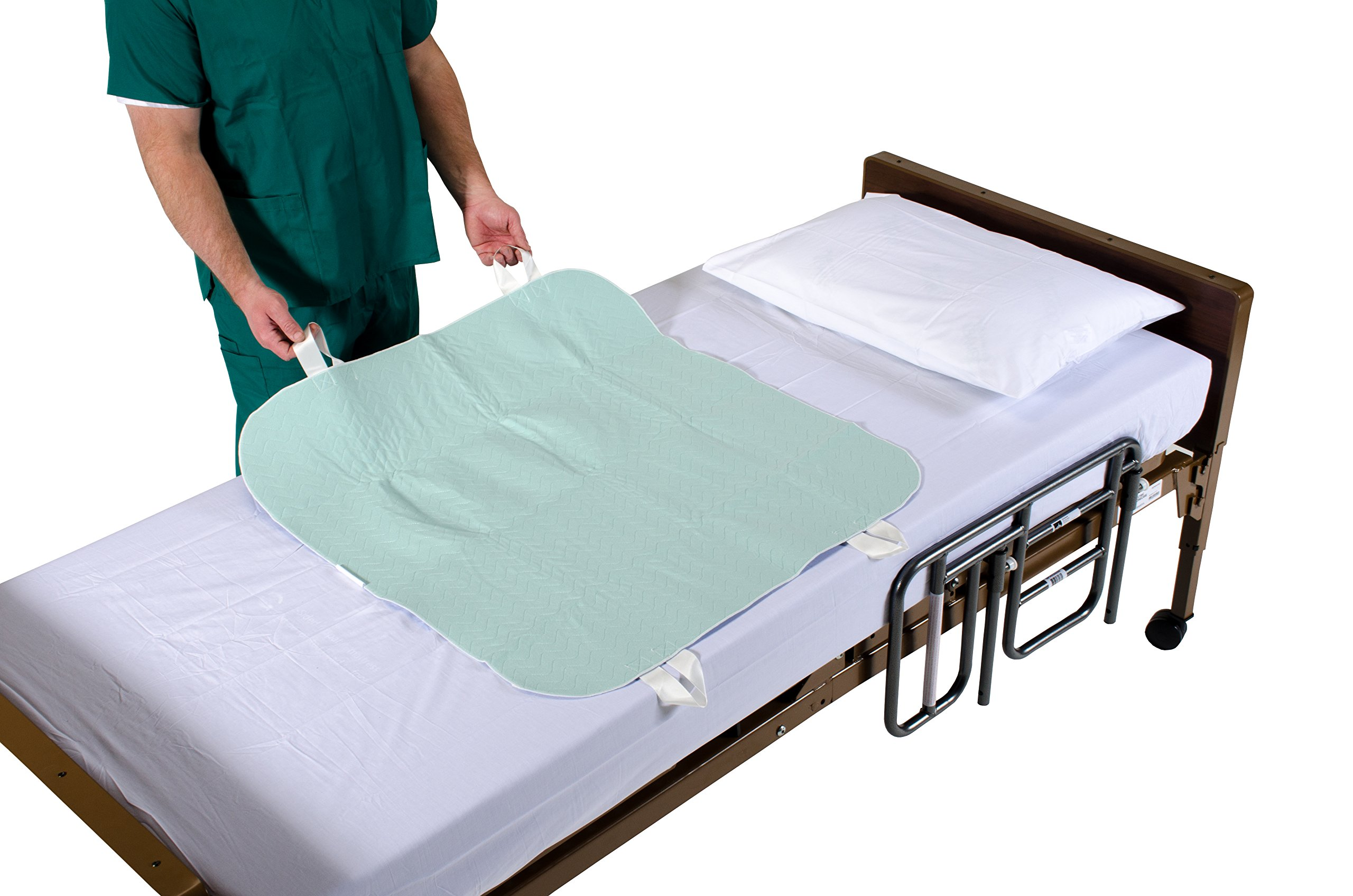 Positioning Bed Pad with Handles, Incontinence Mattress Bedding Protector Liner Underpad with Straps for Easy Lift Transfer – Reusable, Washable, Waterproof Hospital Quality Medical Supplies 34'' x 36'' by Patient Aid (Image #2)