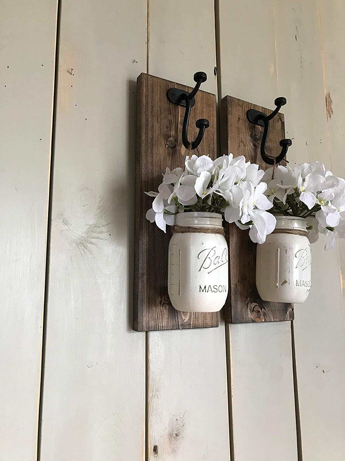 Rustic Wood Wall Sconce, Wood Wall Sconce with Flowers, Floral Wall Sconce Set, Mason Jar Wall Sconce