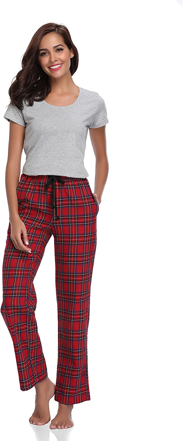 Luvrobes Womens Cotton Plaid Pajama Lounge Pants