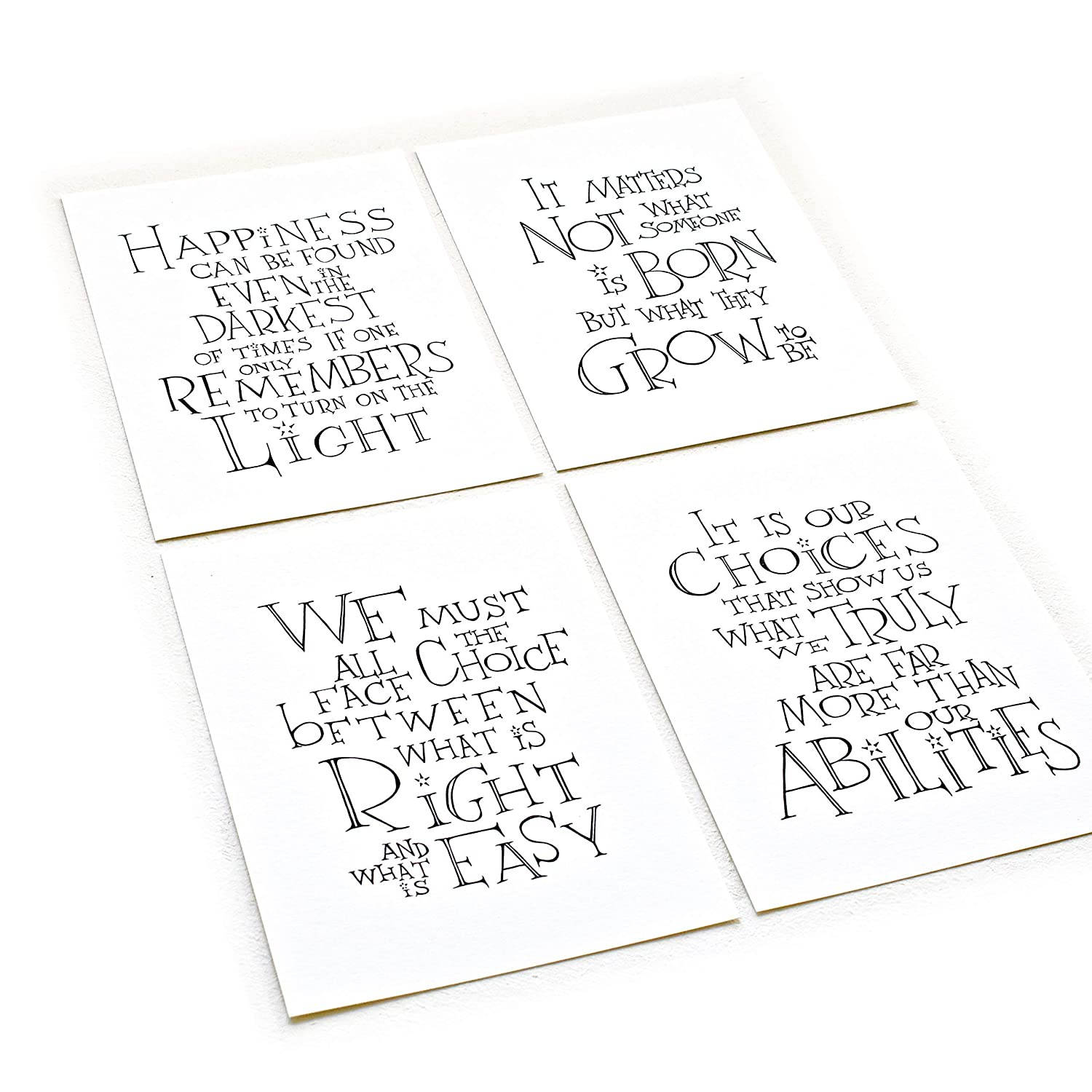 Set of 4 Inspirational Quotes Art Prints on 8.5 x 11 inches Archival Matte Paper Unframed Print