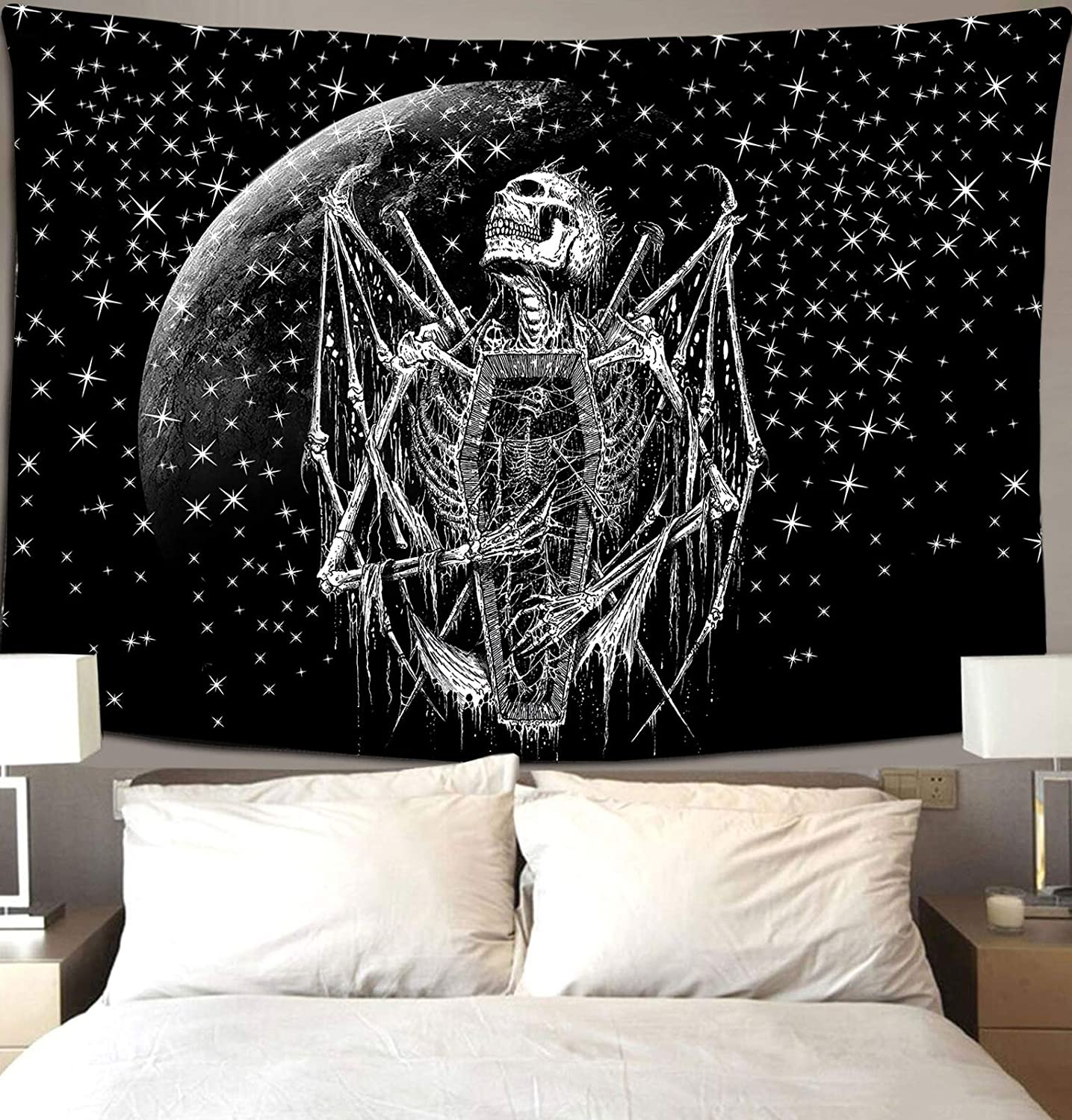 Black And White Skull Skeleton Art Under The Sun, Moon And Starry Sky Tapestry Wall Hanging As Wall Art And Home Decor For Bedroom, Living Room, Dorm Decor Tapestry 60*51inch