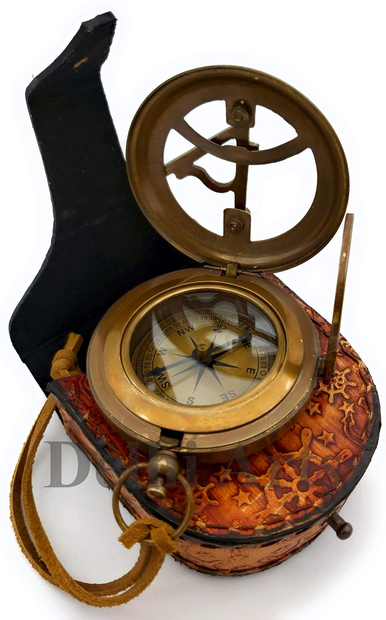 Delhi Arts Brass Sundial Compass with Leather Case and Leather Strip - Push Button Open Mechanism Vintage Compass- - Steampunk Accessory - Antiquated Finish - (Blank) by Delhi Arts