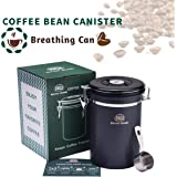 ARC USA Airtight Stainless Steel Coffee Canister for Storage with Date Tracker and CO2-Release Valve, Keep Coffee Bean Fresher, Gray, Extra Coffee Accessories Scoop (Large)