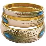 ZAD Set of 3 Peacock Feather Print Bangles Bracelet