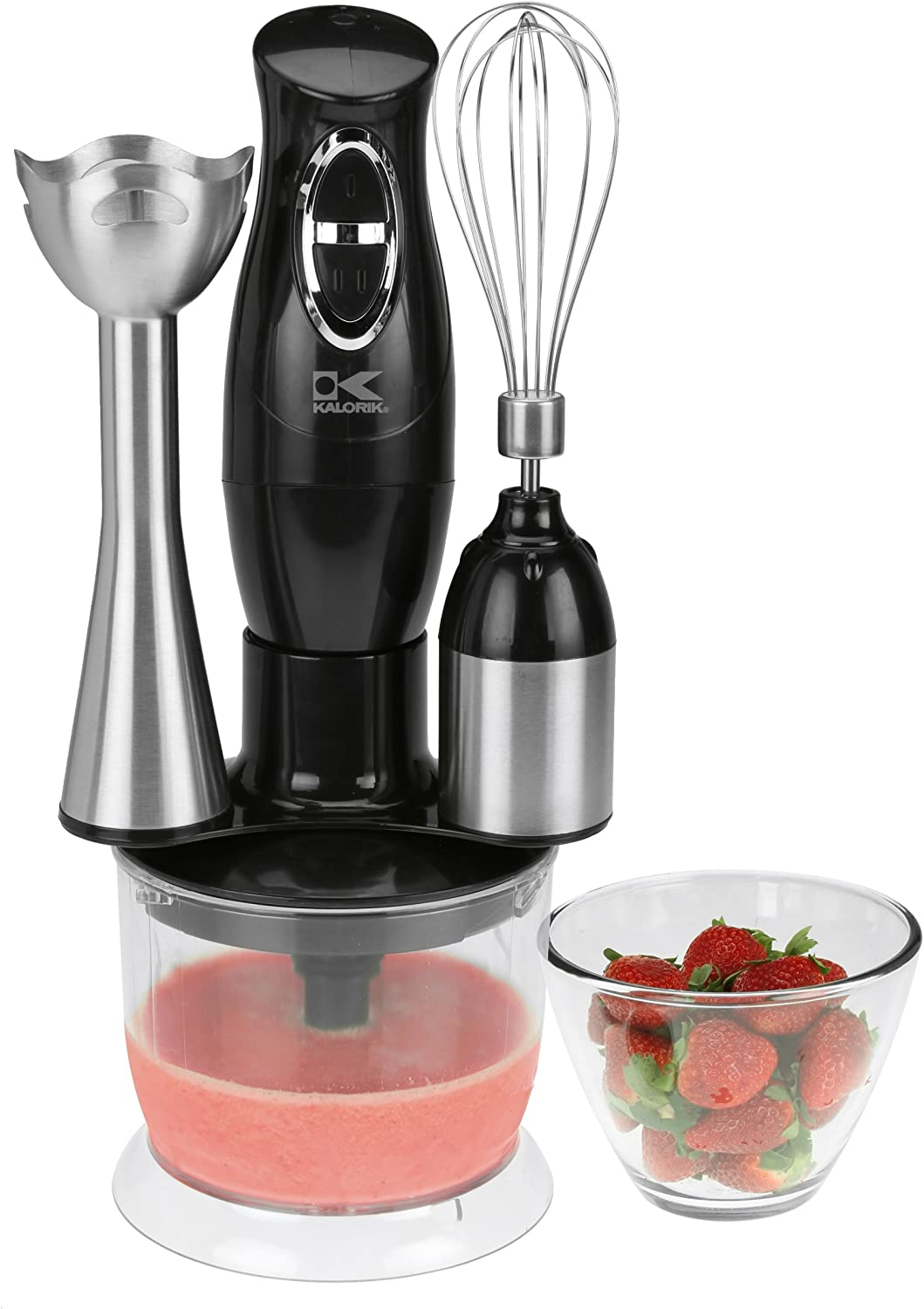 Kalorik Combination Mixer with Mixing Cup/Chopper and Whisk, Black