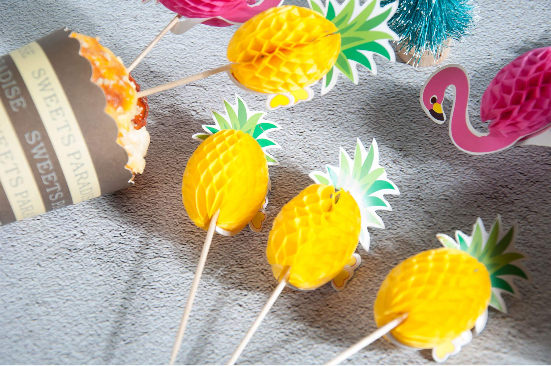 Lauren 48 Pcs Cupcake Toppers 3D Flamingo and Pineapple Cupcakes Toppers Food Picks Party Cocktail for Party Tropical Cupcake Picks Decoration by Lauren (Image #8)