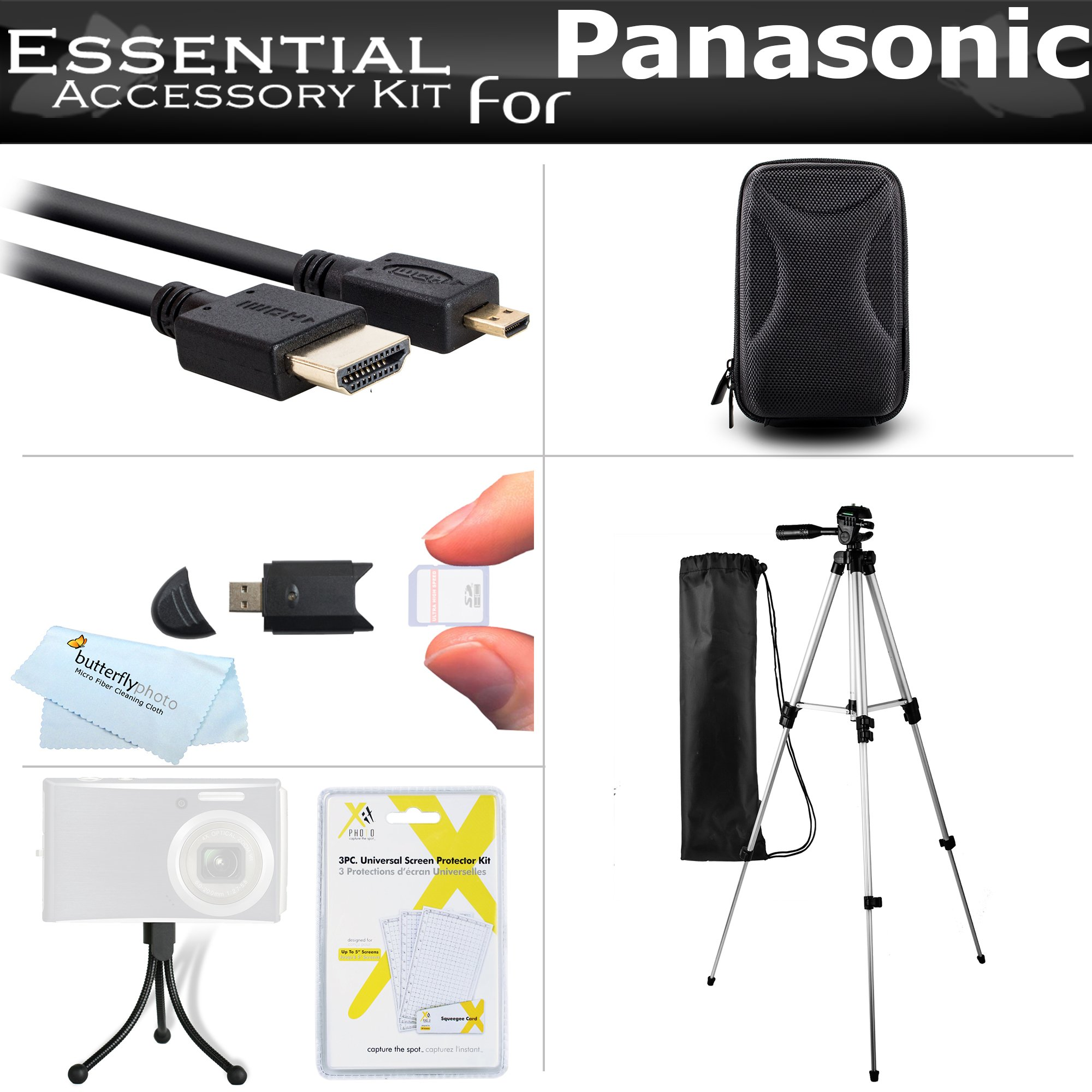 Starter Accessories Kit For The Panasonic ZS50, DMC-ZS45K, DMC-ZS40K, DMC-ZS35K, DMC-ZS30, DMC-TS6, DMC-ZS60K, DMC-ZS100K Digital Camera Includes Case + 50 Tripod With Case + Micro HDMI Cable + More by ButterflyPhoto