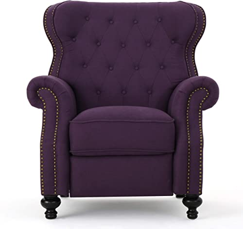 Waldo Tufted Wingback Recliner Chair Plum