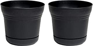 "product image for Bloem Saturn Planter with Saucer, 10"", Black (SP1000) (Pack of 2)"