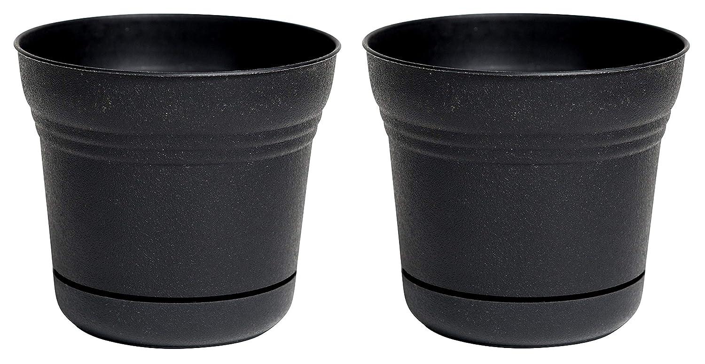 Bloem Saturn Planter with Saucer, 10 , Black SP1000 Pack of 2