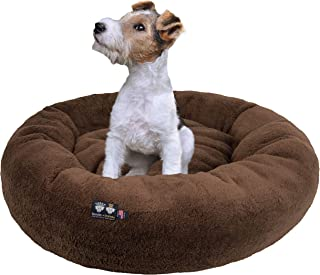 product image for Ultra Plush Deluxe Comfort Pet Dog & Cat Brown Snuggle Bed (Multiple Sizes) - Machine Washable, Made in the USA, Reversible, Durable Soft Fabrics