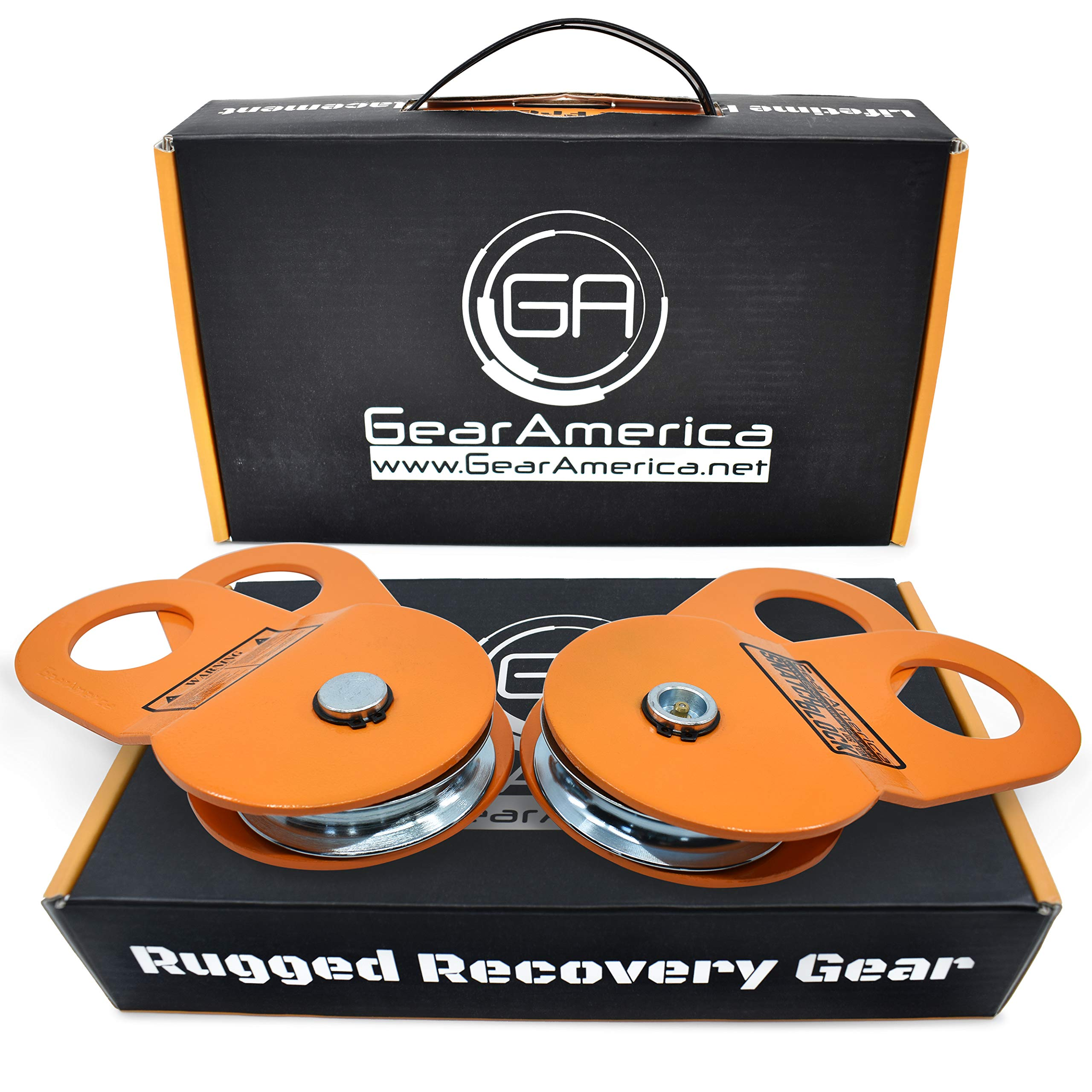 GearAmerica (2PK) Snatch Blocks 9 Ton | Heavy Duty Winch Pulley System for Synthetic Rope or Steel Cable | Triple Winch Capacity, Extend Life, Control Direction of Pull | Off-Road Recovery Accessory